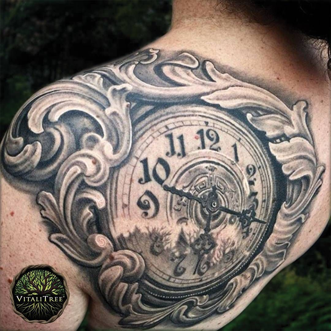 beautiful filigree clock tattoo by maximilian rothert. Black Bedroom Furniture Sets. Home Design Ideas