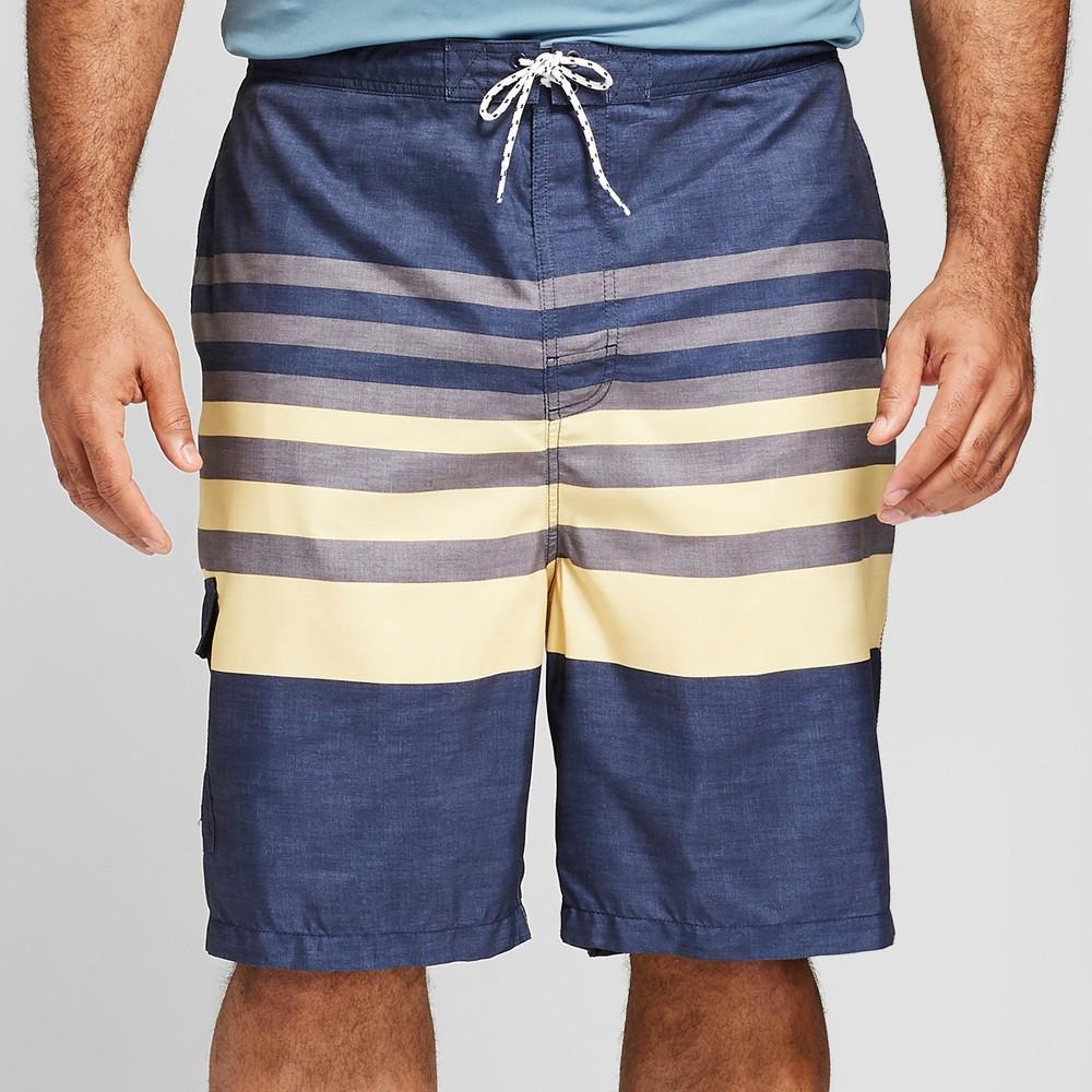 2fe4a5f68d Men's Big & Tall 9 Board Shorts Short- Yellow Stripe - Goodfellow & Co  Yellow Stripe 3XB, Blue