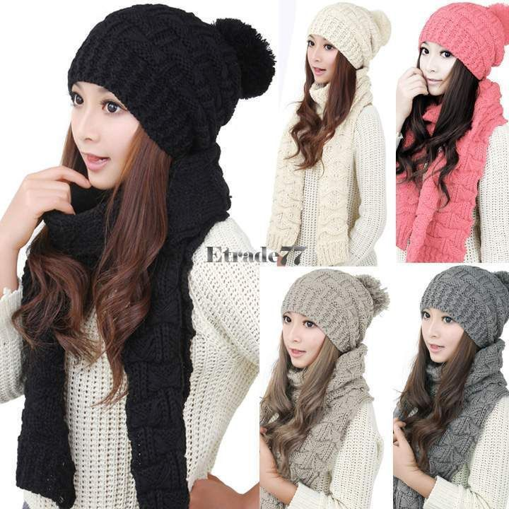 Womens Winter Knit Handmade Hat And Scarf Set Woolen Knitting Beanie Cap Collars
