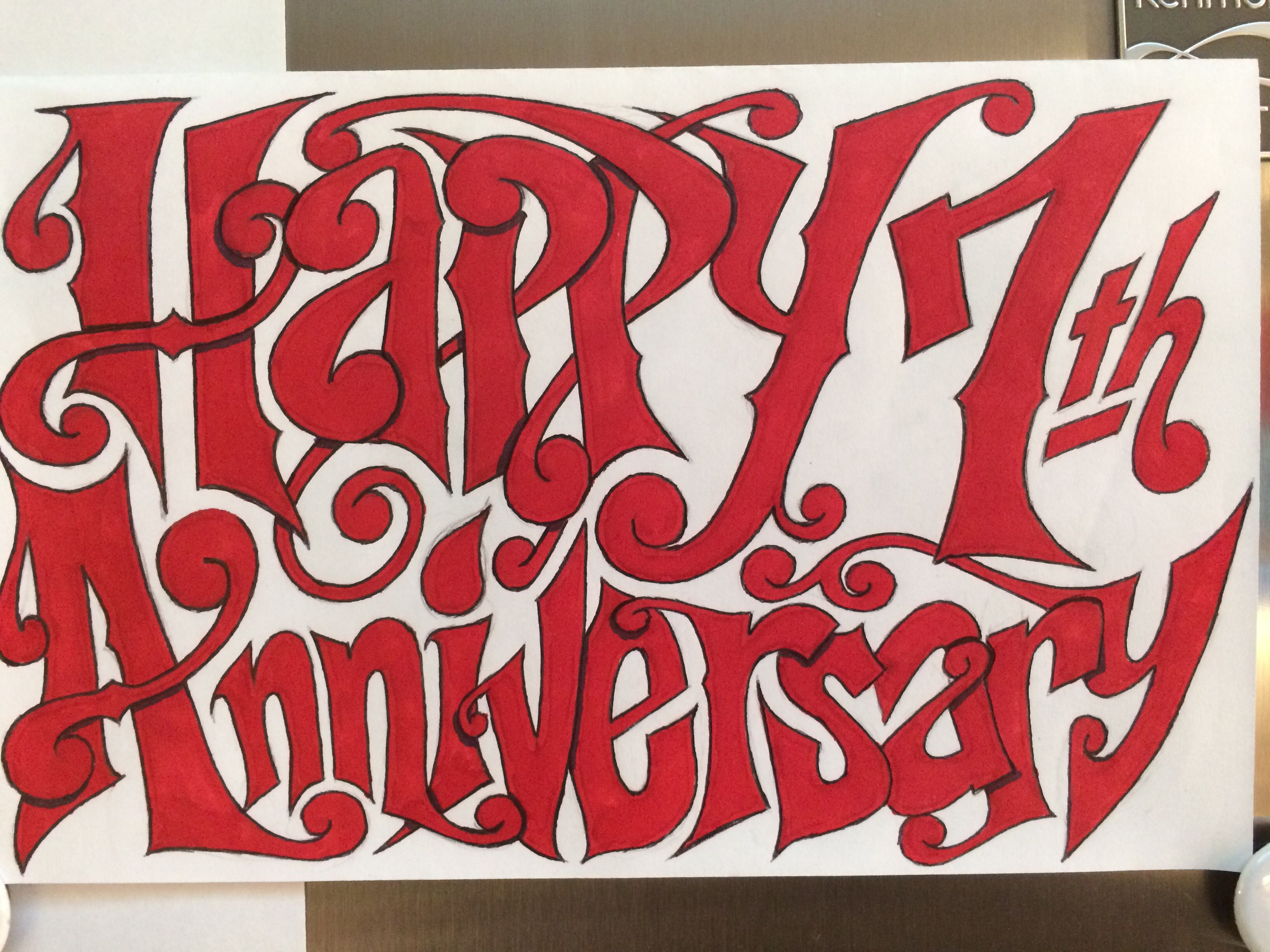Hand Drawn Lettering By Thorin Brentmar For My Wife On Our Th