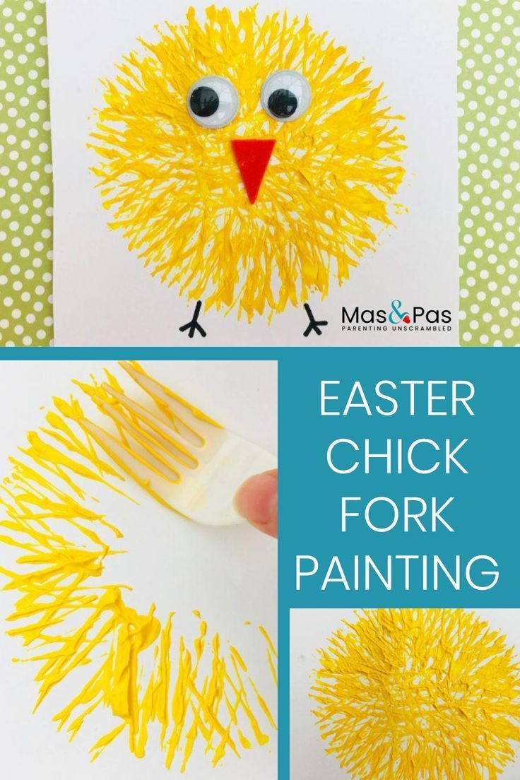 Fork printed Easter chick paintings