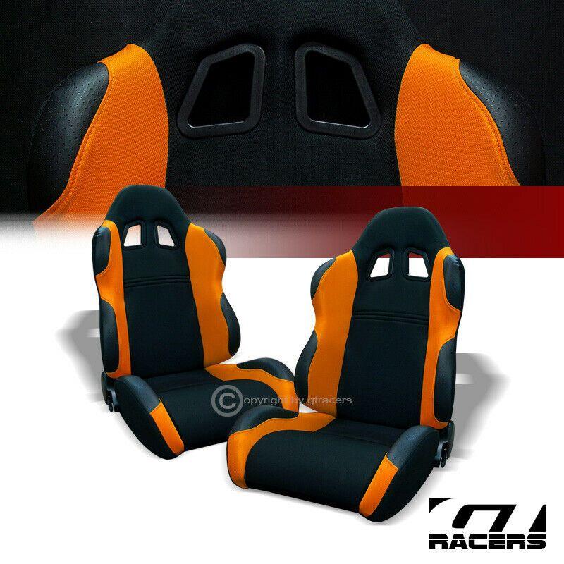 Ad Ebay Universal Ts Black Orange Cloth Leather Racing Bucket