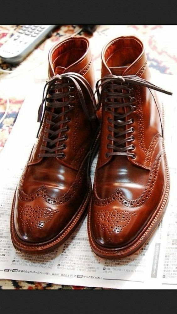 Men's ankle leather boots, Men brown Wing tip brogue boot