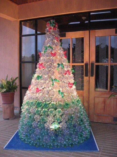 Christmas tree made out of recycled pop bottles craft for Christmas decorations from recycled plastic bottles