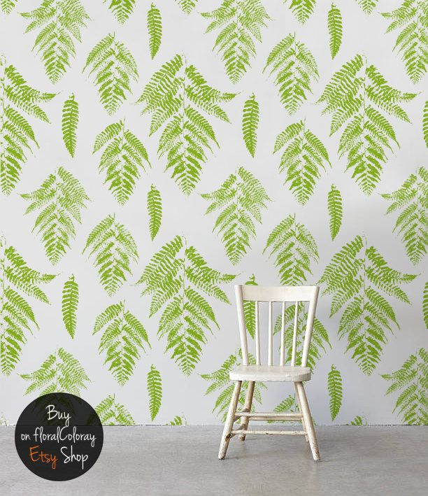 Lime Fern Leaves removable wallpaper Green ornament Pattern