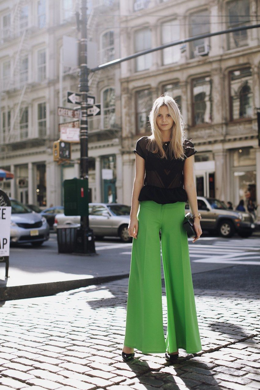 #streetstyle  Maurie & Eve top, Vintage pants and clutch, Asos heels, Michael Kors watch, Gorjana necklace and bracelet, Jacquie Aiche rings.