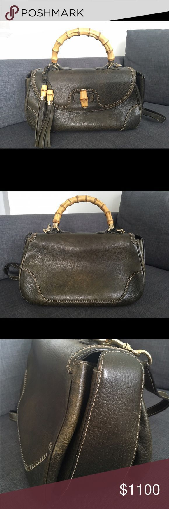 Gucci Bamboo Bag Gucci new bamboo LARGE top handle bag in military green l Gucci Bamboo Bag Gucci new bamboo LARGE top handle bag in military green l
