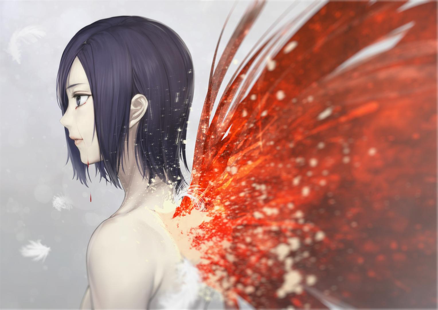 Tokyo Ghoul Touka Kirishima Wings Blood Crying
