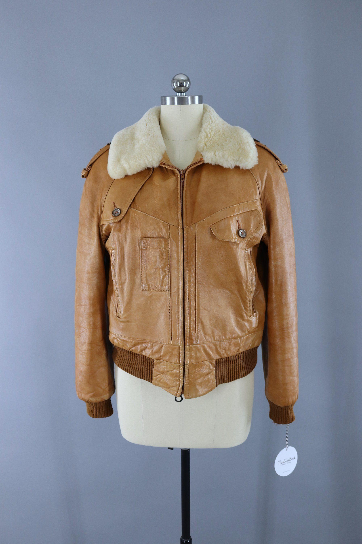 Vintage 1970s Tan Leather Bomber Flight Jacket / Silton