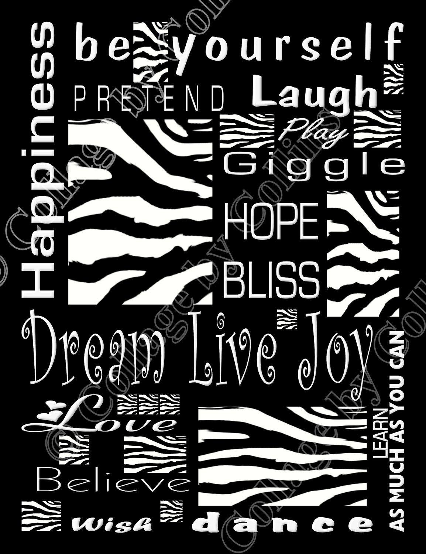 High Quality Zebra Print Black And White Decor Wall Art Inspirational Live LOVE Laughu2026