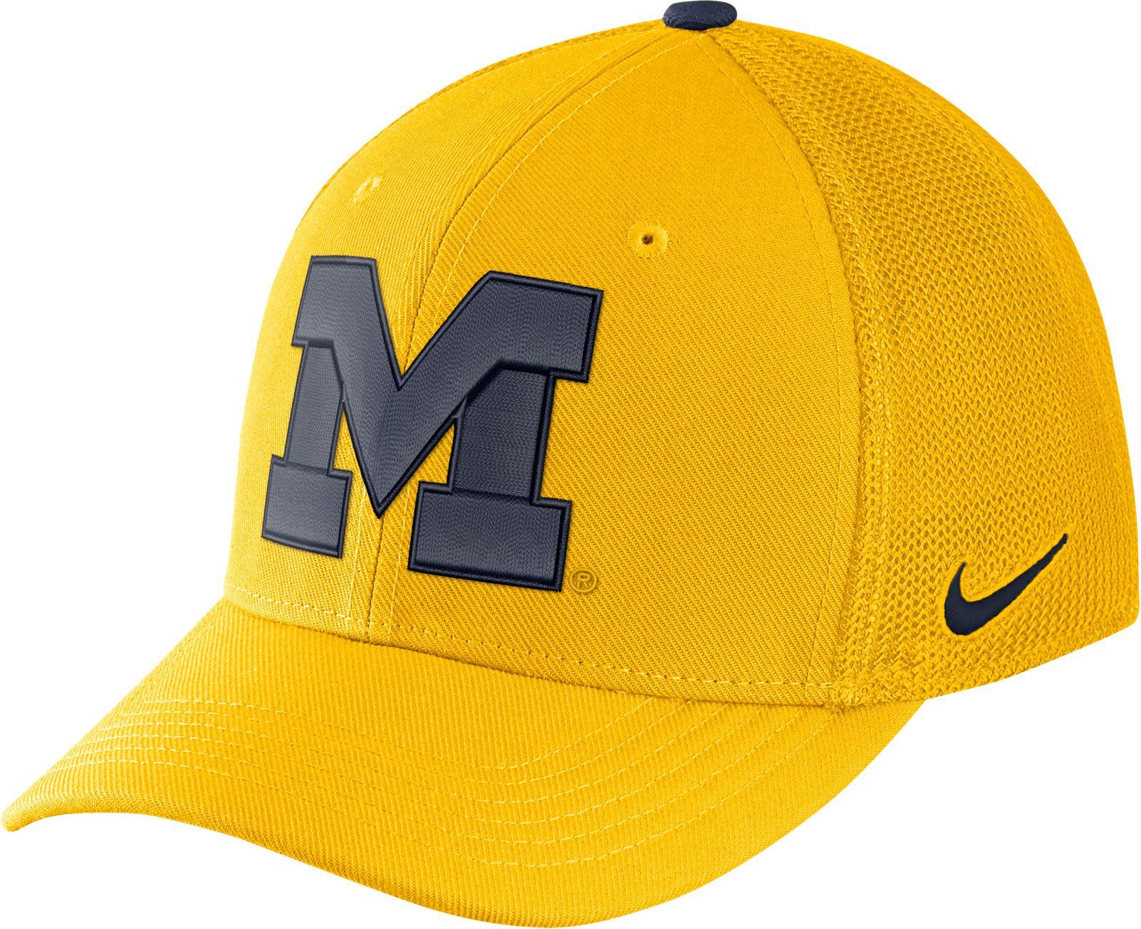 sports shoes 0c86b 4081b Nike Men s Michigan Wolverines Maize Aerobill Swoosh Flex Classic99 Hat,  Blue