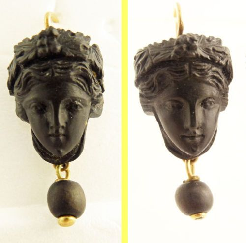 Antique-Victorian-Earrings-Carved-Black-Lava-Cameo-Classic-Revival-Gold-5671