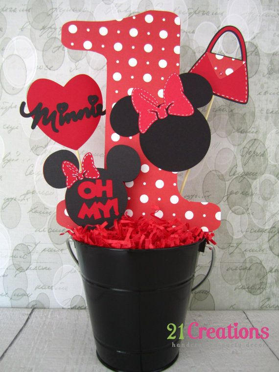 Minnie Mouse Centerpiece Inserts Bucket Not by 21CreationsToo