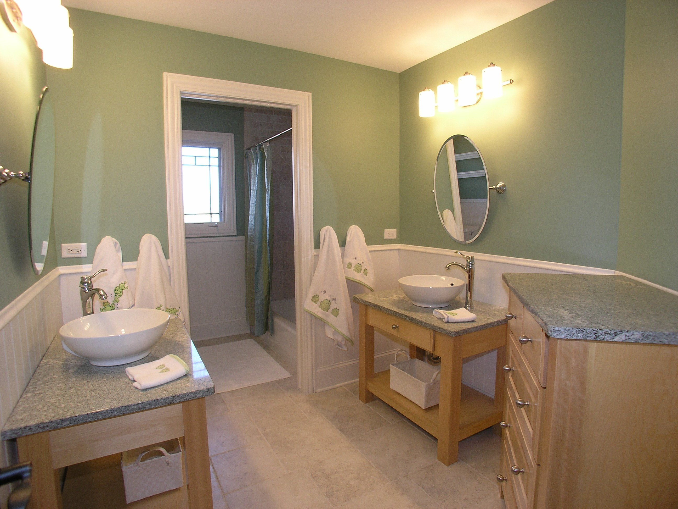 Green Frog Bathroom   Hall Bath,custom Vanities And A Bathroom Color That  Works For