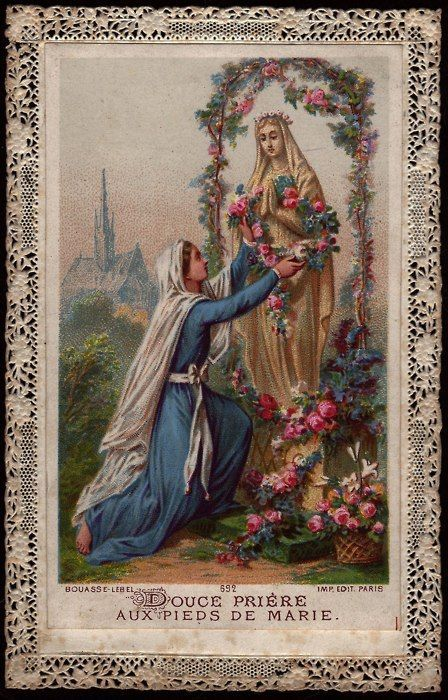 """Sweet prayer at the feet of Mary"" is the translation of the words on this beautiful prayer card."