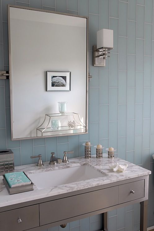 Mabley Handler Bathrooms Blue Glass Tiles Backsplash - Blue glass bathroom accessories for bathroom decor ideas