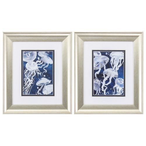 """Set of two 13""""h x 11"""" w Blue and White Jellyfish prints that have been double matted and framed under glass in a complimenting brushed silver frame."""