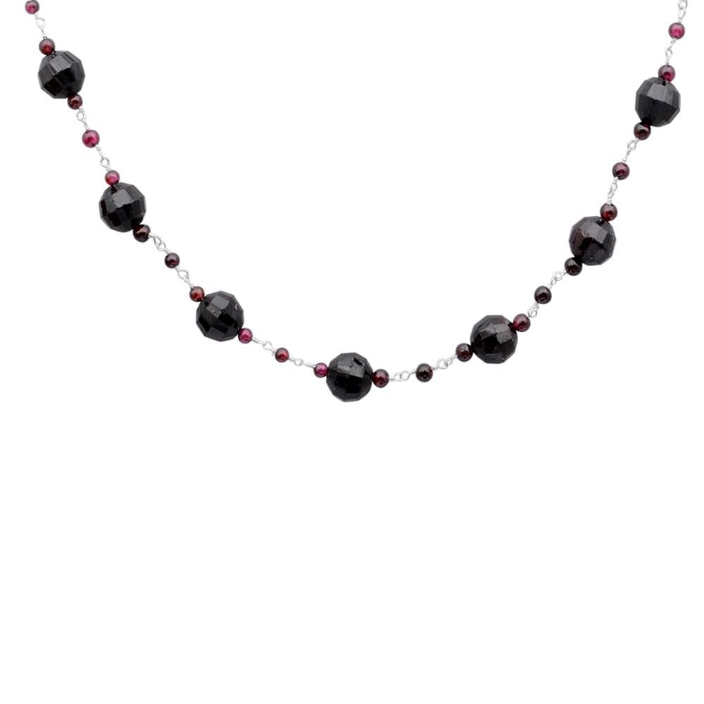 Orchid Jewelry 925 Sterling Silver 108 Carat Garnet Necklace (925 Silver-Garnet), Women's, Size: 16 Inch, Red