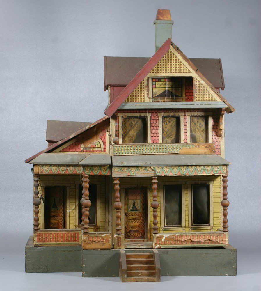 Bliss Paper Litho On Wood 3 Story Doll House.