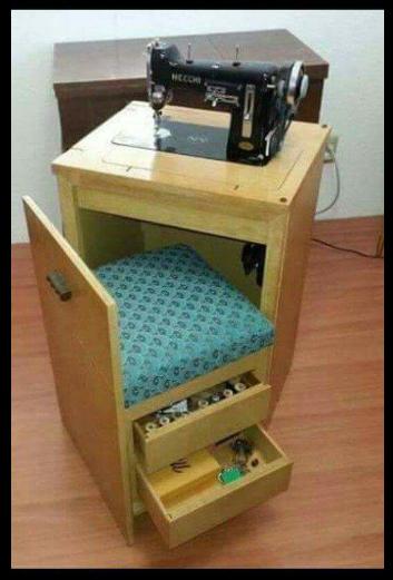 Mesa para maquina de coser, con silla integrada. | Diy
