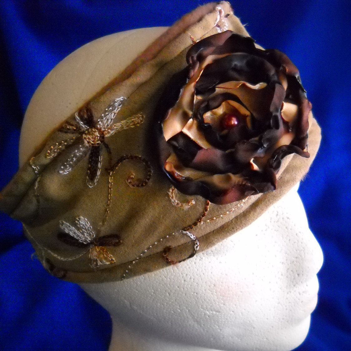 Soft fleecelike brown flower design head wrap turban headband with