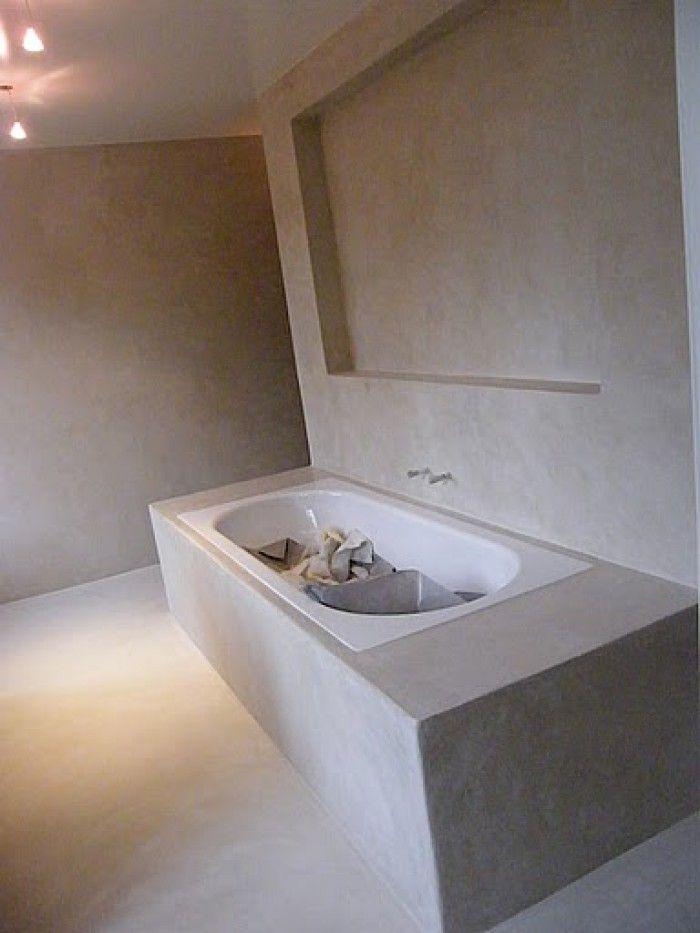 mooie badkamer met betonstuc op de muren | badkamer | Pinterest