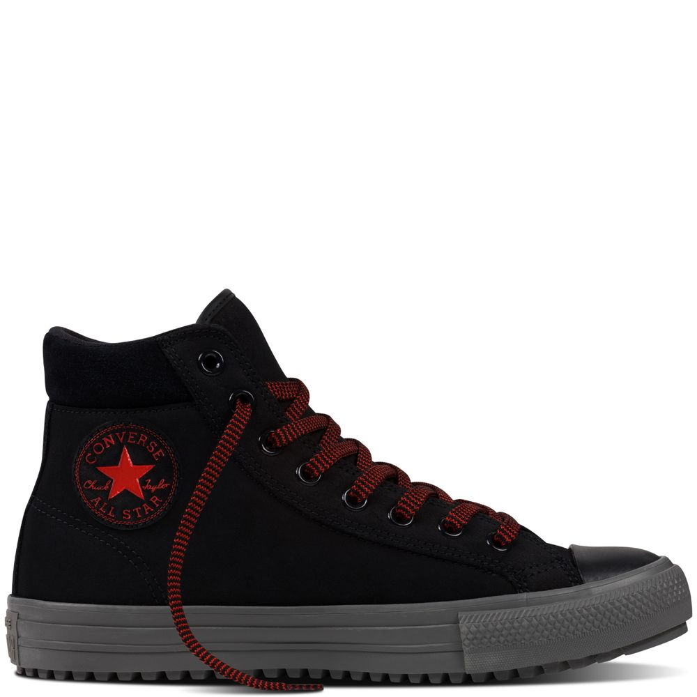 0b2f9c30657180 Chuck Taylor All Star Converse Boot PC Leather Black black charcoal  grey signal red
