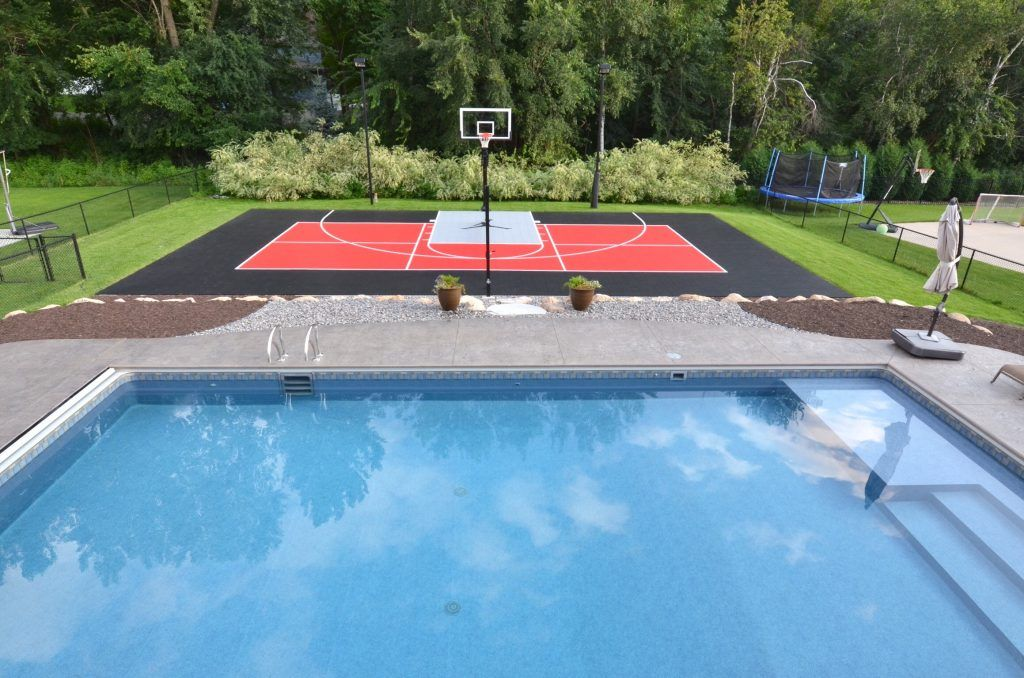 Pool Basketball Court Patio Unique Outdoor Courts Game Millz House Snapsports Nba Small Backyard Swimming Pool Builder Backyard Pool Basketball Court Backyard