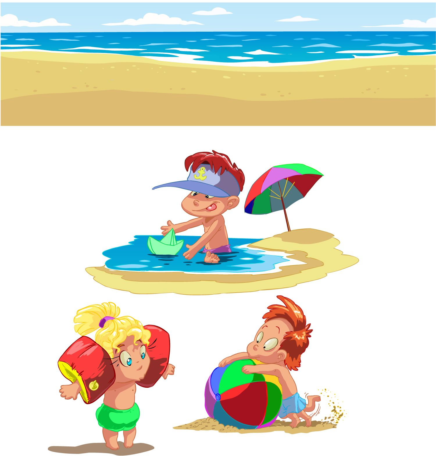 free vector cartoon children summer beach vector graphic available for free download at 4vectorcom - Download Cartoons For Kids