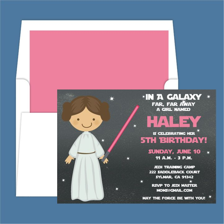 Star Wars Princess Leia Light Saber Birthday Party Invitation 150 Via Etsy