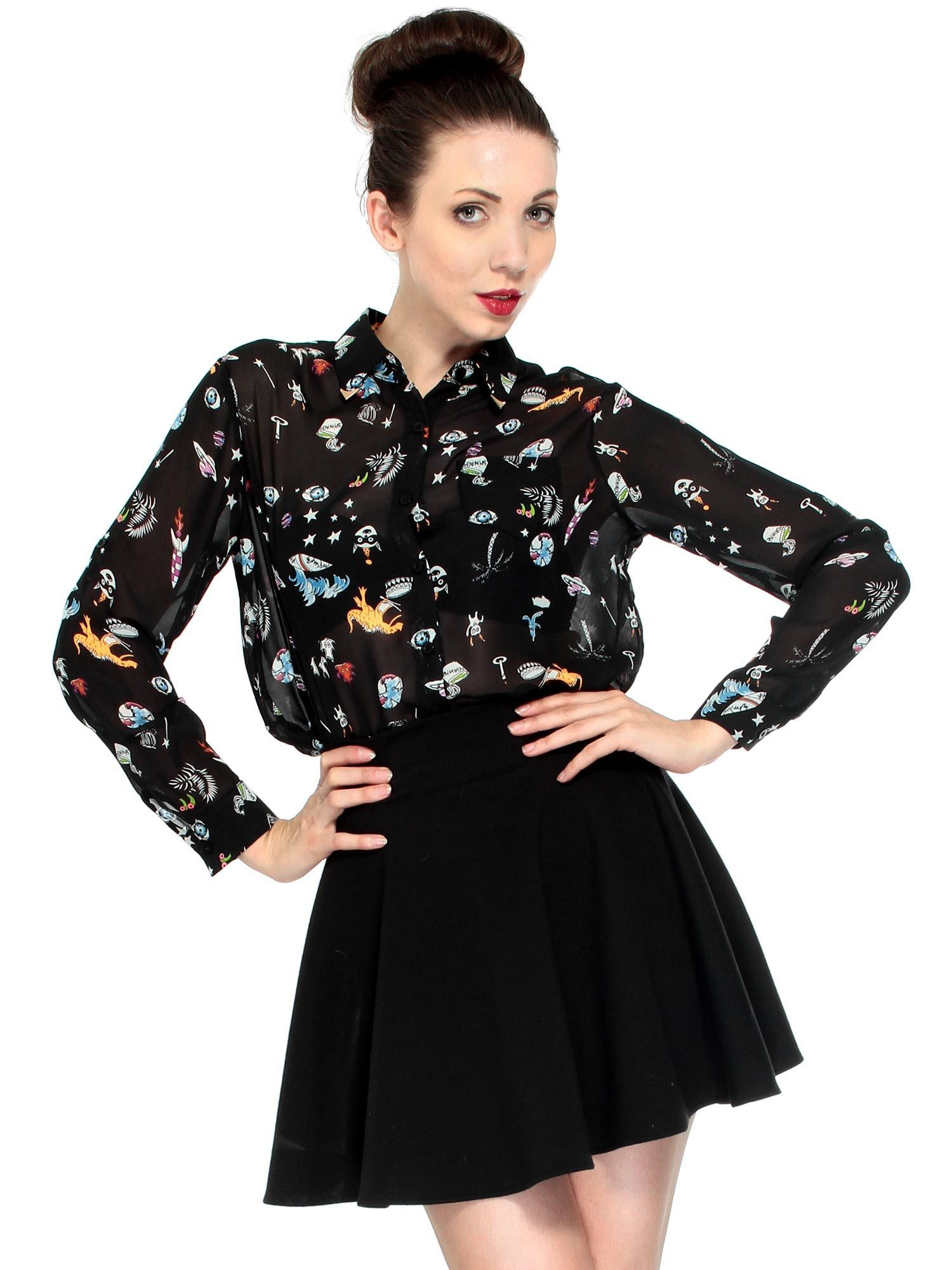 6498bfb50eef6 This chiffon blouse comes with long sleeves and a stylish turn down collar.  It s designed with a dinosaur color print. Material  Chiffon Georgette Size  S  ...
