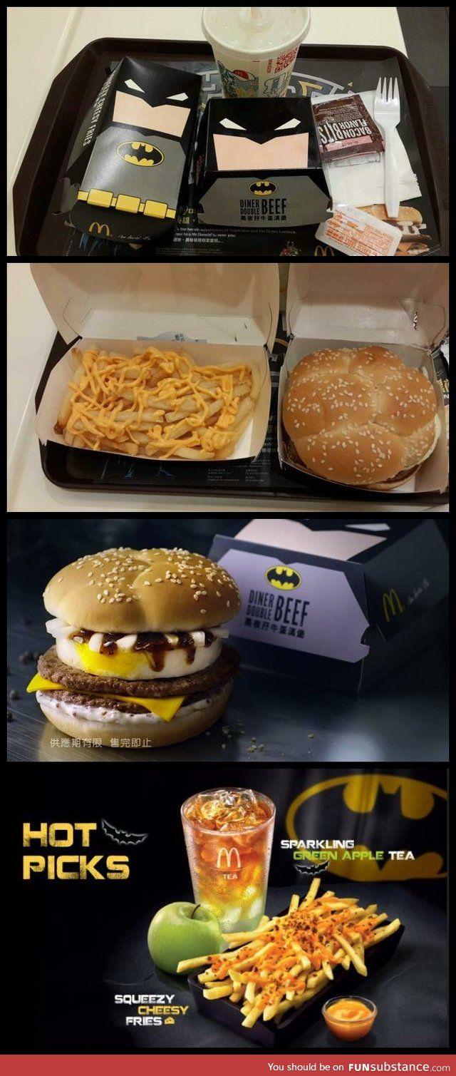 Mcdonalds hong kongs batman burger or make own by putting bat shaped cutouts for the cheese