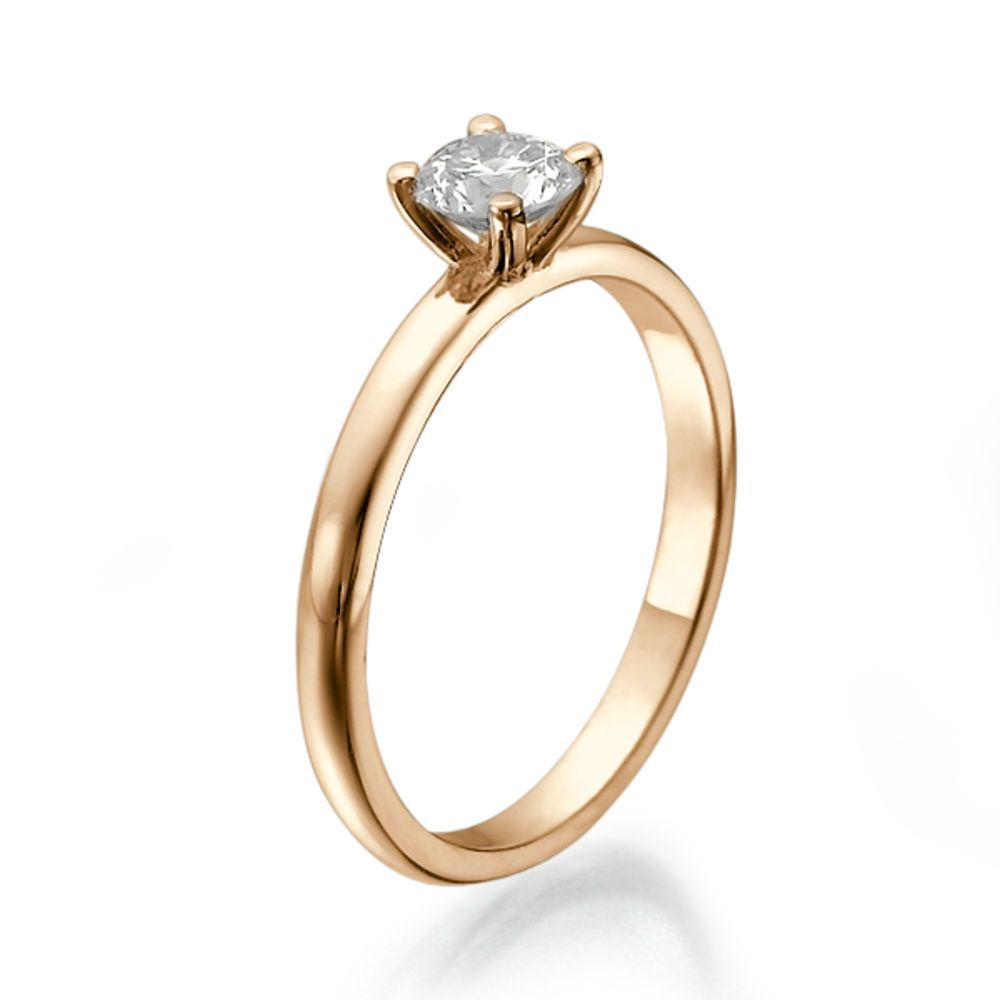 Diamantring verlobung gold  Verlobungs Diamant Ring Solitär 0.25 Karat (VS2/F) 585 Rosegold ...