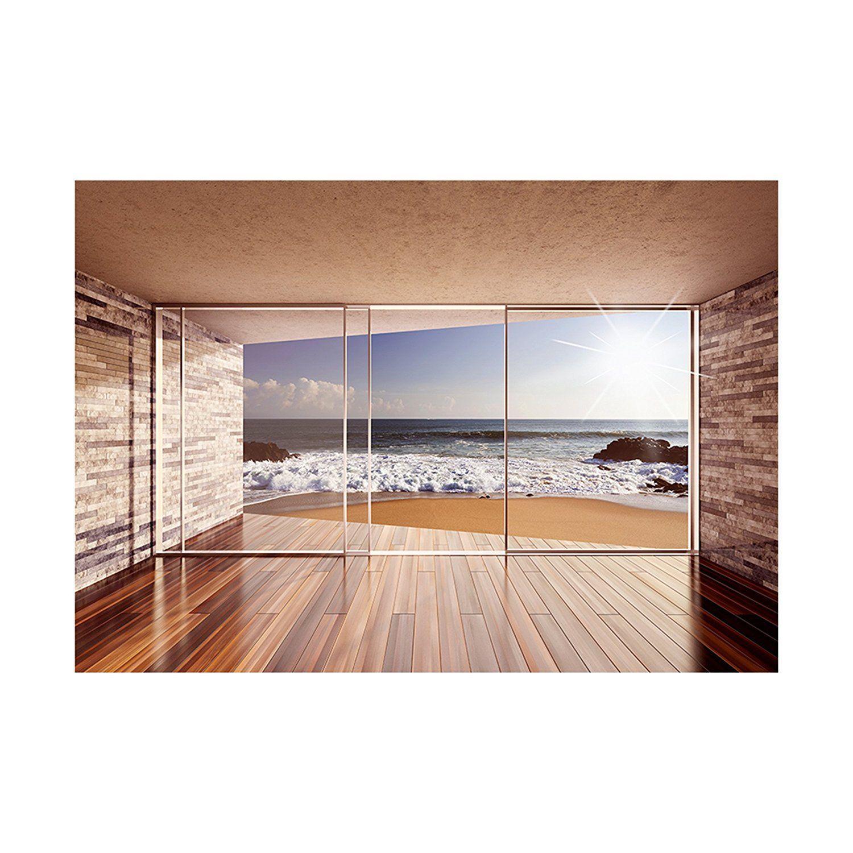 Moderne Tapeten Wohnzimmer Fototapete Fenster Zum Meer 300x210 Cm Xxl Vlies Tapete Windows
