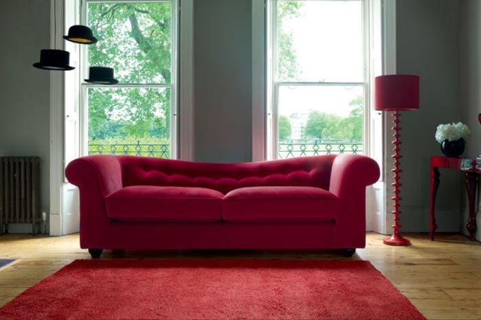 Wohnraumgestaltung modernes Wohnzimmer Sofa Rot rote couch - wohnzimmer rot orange