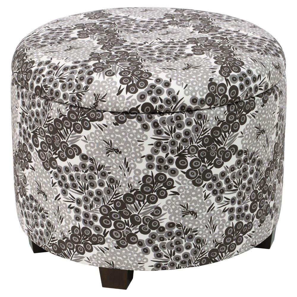 Phenomenal Trappe Medium Round Ottoman With Storage Black White Inzonedesignstudio Interior Chair Design Inzonedesignstudiocom