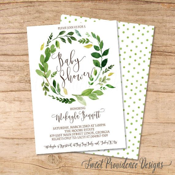 2e976a5997d Baby Shower Invitation Watercolor   Greenery Baby Shower invitation    Botanical Watercolor Invitation by SweetProvidence on Etsy