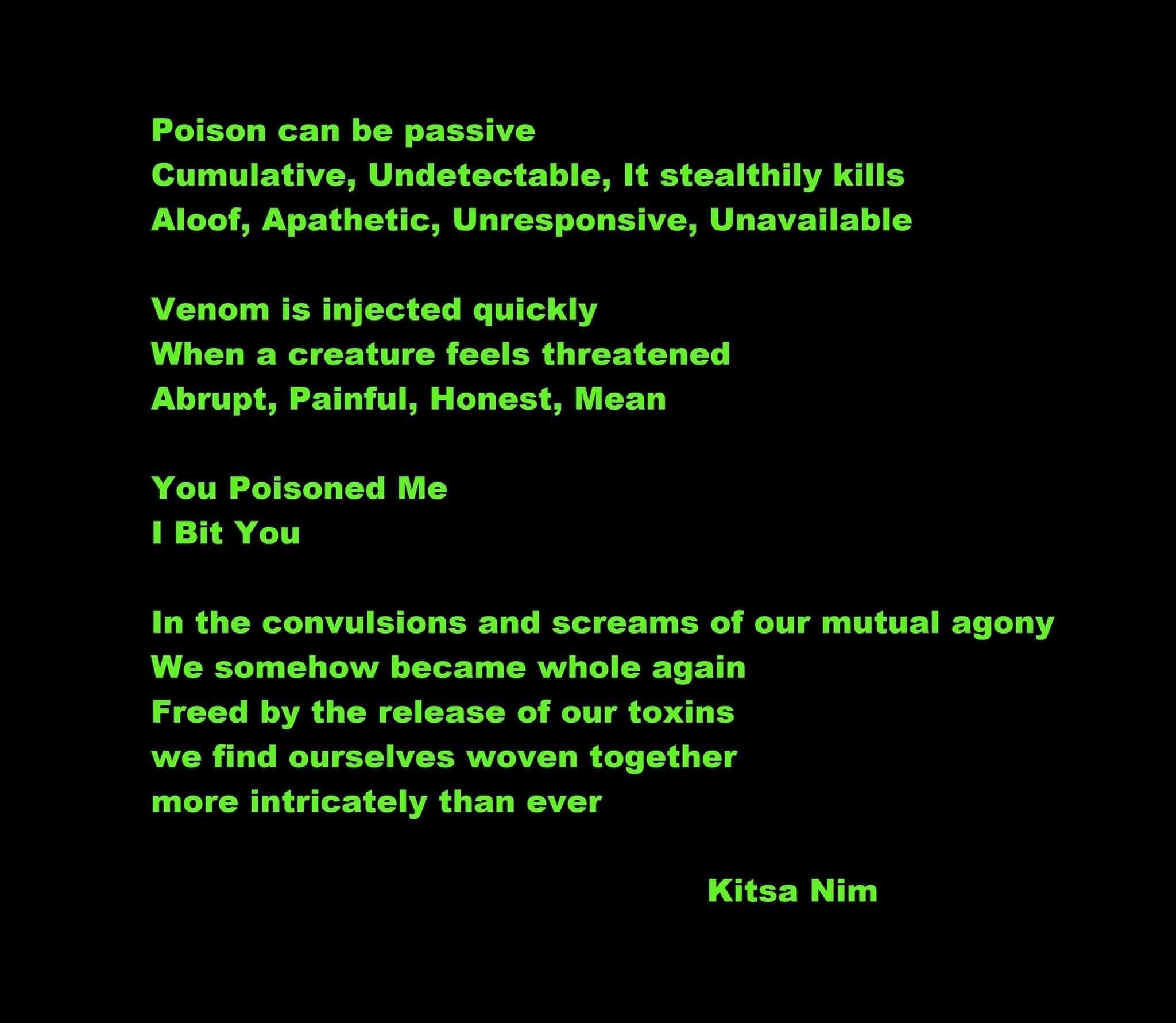 Poem By Kitsa Nim About Poison Venom Relationships Fighting Love