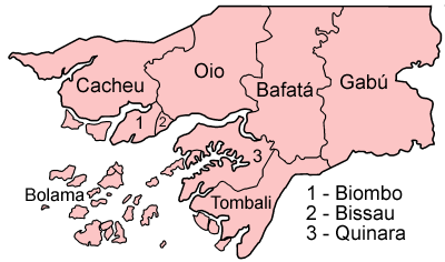 A clickable map of GuineaBissau exhibiting its eight regions and