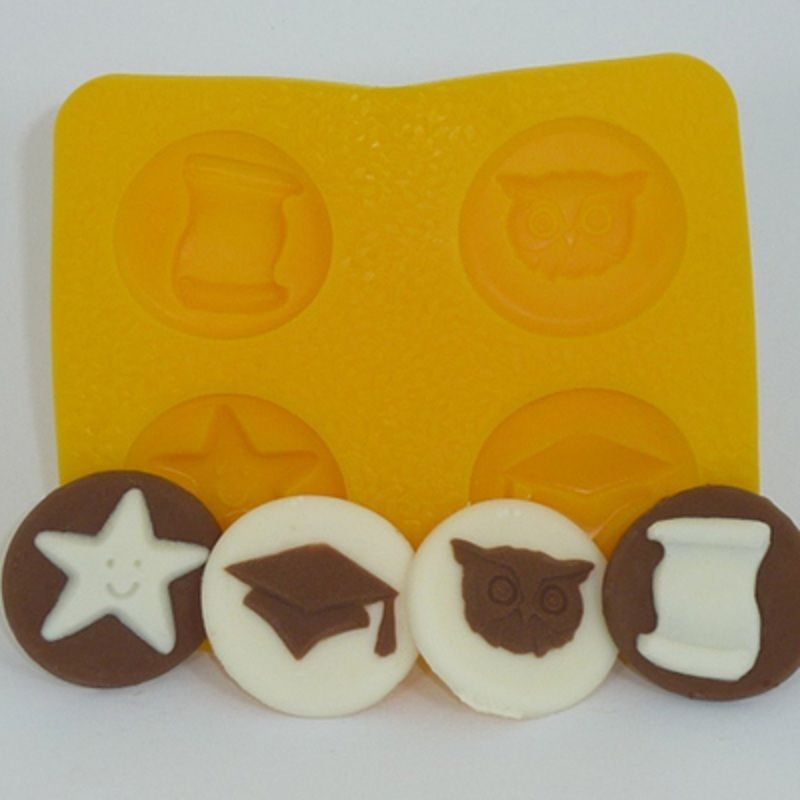 Cream Cheese Mint Candy Rubber Mold Graduation 4 Cavity Cake Decorating Cream Cheese Mints Mint Molds Mint Candy