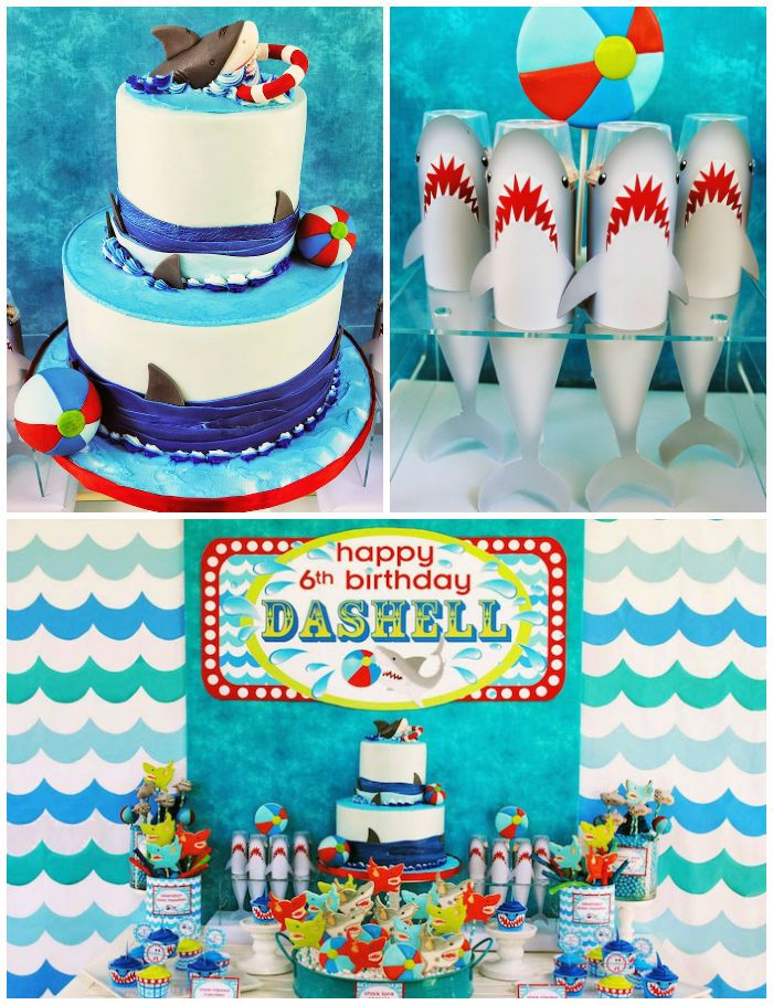 Wet N Wild Shark Themed Birthday Party Via Karas Ideas KarasPartyIdeas Cake Printables Invitation Favors Cupcakes Supplies And More