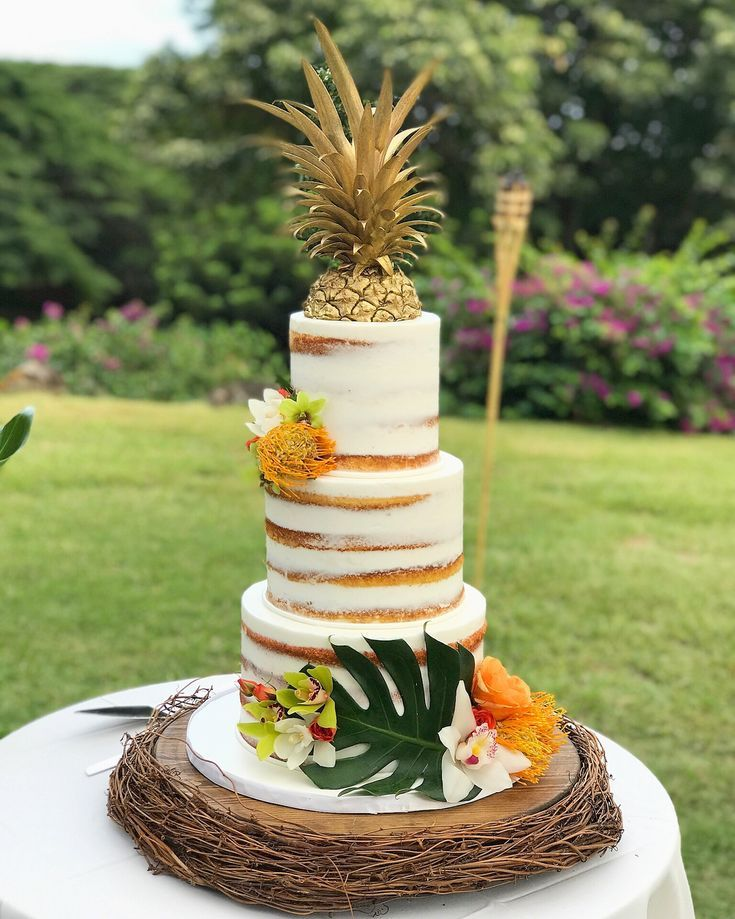 tropical wedding cake toppers tropical semi wedding cake and gold pineapple cake 21280