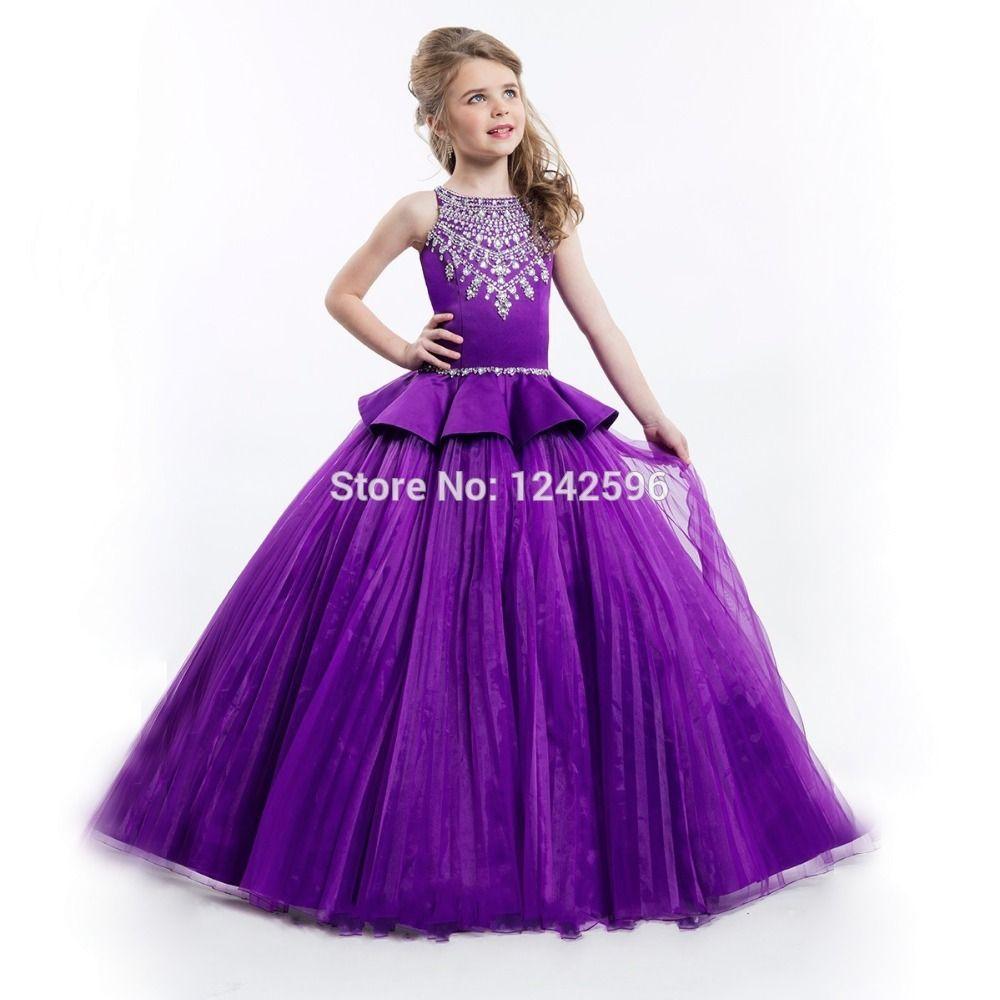 Free Shipping  Buy Best Kids Beauty Pageant Dresses White Purple Ball Gowns  Crystals Beaded Children For Little Girls Flower Girl Dresses For Wedding  ... 813ca0de4c24