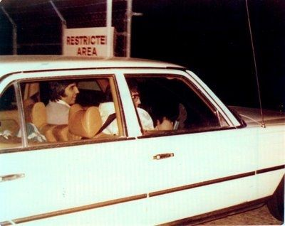 en route, trough the gates of the airport, 1975 December 16th at 3am with Dr Elias Ghanem driving