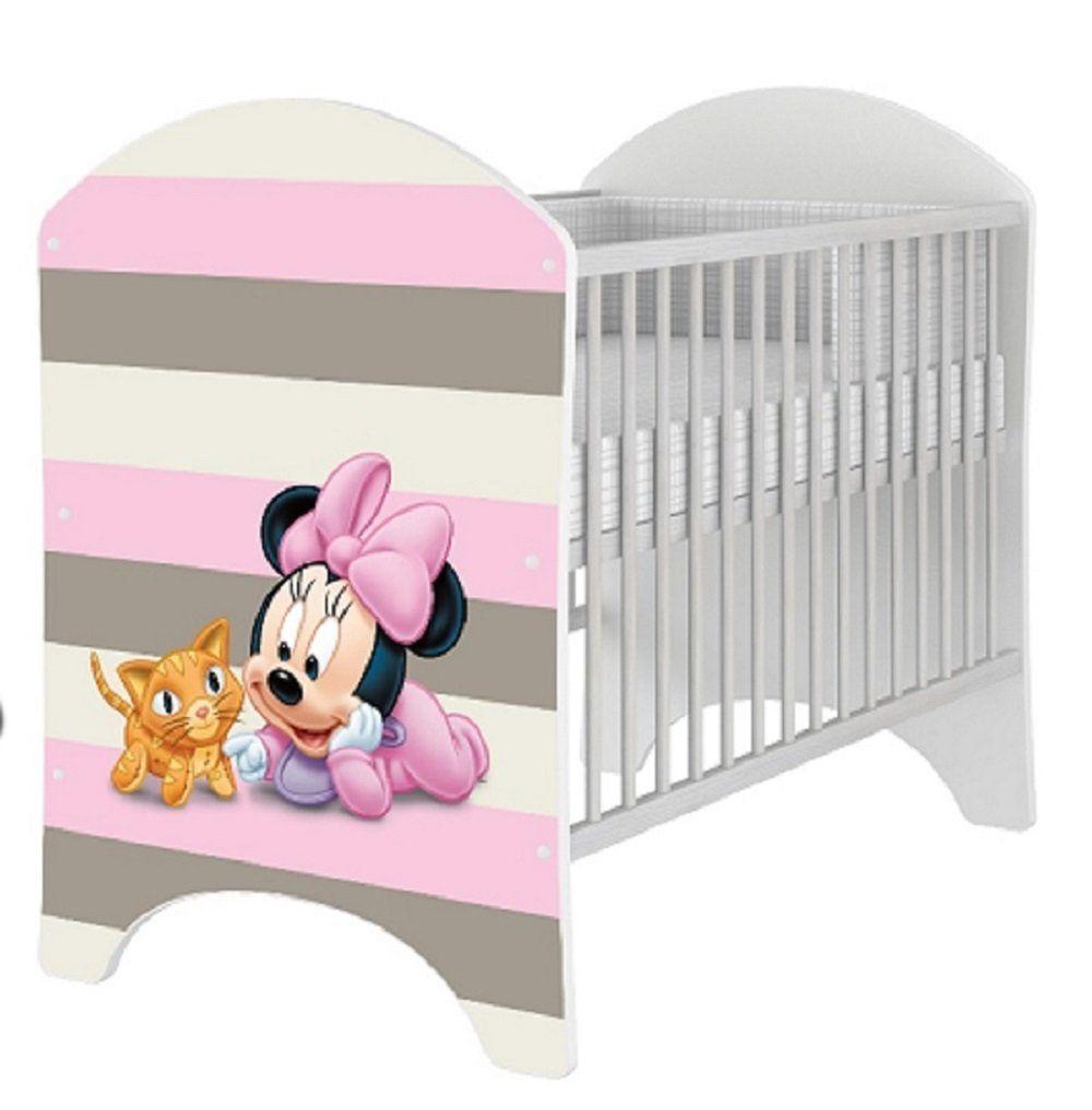 Babybett 120x60 cm Kinderbett mit Minnie Mouse Motiv