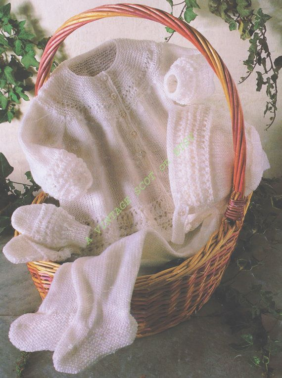 Baby 4ply Pram Set - Matinee Jacket, Leggings Mittens and Bonnet 16 - 22ins - PDF of Vintage Knitting Patterns - Instant Download