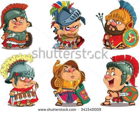 Cartoon. Vector.  Set Funny gladiators.  Roman soldiers in armor. Travesty cartoon. Characters.  Isolated objects.