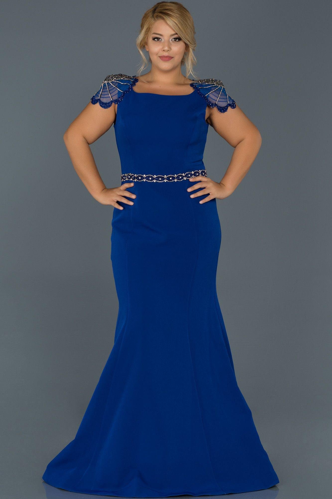 Saks Mavi Tasli Apolet Detayli Buyuk Beden Abiye Abu468 The Dress Elbise Elbise Modelleri
