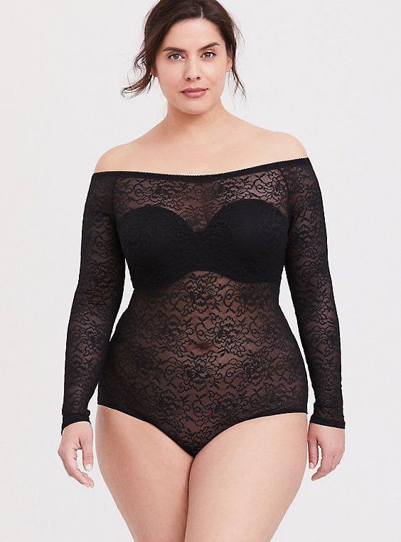 Black Lace Off Shoulder Bodysuit This semi-sheer l