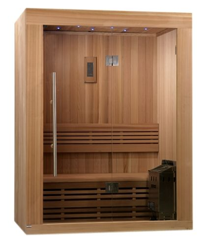 Sundsvall 2 3 Person Traditional Steam Sauna Canadian Red Cedar With Built In Fm Radio And Bluetooth Connection Sauna Design Steam Sauna Traditional Saunas